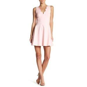 Love...ady Scalloped V-Neck Fit & Flare Dress
